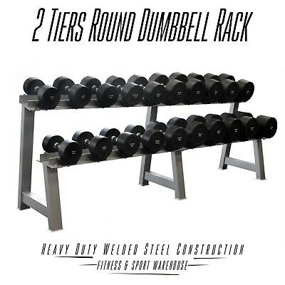 NEW Two Tiers Round Dumbbell Storage Rack Fitness Gym Exercise Equipment Gear