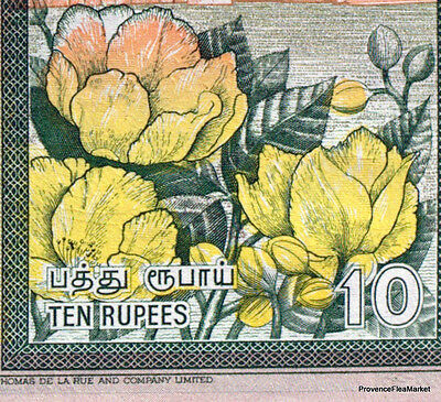 SRI LANKA billet neuf  10 RUPPEES Pick115a  SINHALESE CHINZE COLOMBO FLEURS 2001