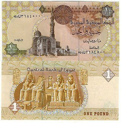 EGYPTE billet neuf 1 POUND Temple d'Abou Simbel  Pick50k QUAYET BEY MOSQUEE