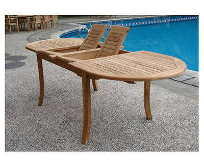 "Grade-A Teak Wood 117"" Double Extension Oval Dining Table Outdoor Patio New"