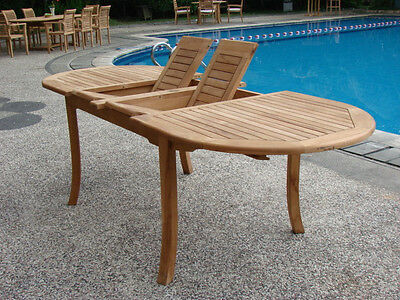 "Grade-A Teak Wood 94"" Double Extension Oval Dining Table Outdoor Patio New"