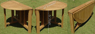 "Grade-A Teak Wood 48"" Round Butterfly Dining Table Outdoor Garden Patio New"