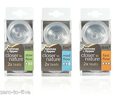 Tommee Tippee Closer To Nature Teats -Pack of 2 -SLOW, MEDUIM, FAST OR VARIABLE