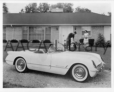 1953 Corvette Convertible Coupe by house with dog Factory Photo Ref. #35714