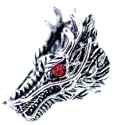 Punk goth style antique silver and red coloured dragon head ring, UK Size Y