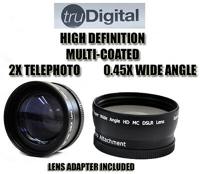 DIGITAL 2X TELEPHOTO & .45X WIDE ANGLE 52MM Lens For Nikon 18-55mm D5100 D5000