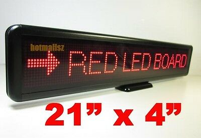 """Red LED Programmable Message Sign Moving Scrolling Display board Panel 21""""x 4"""""""