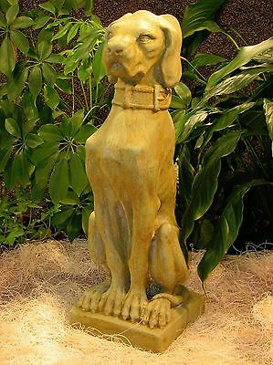 Cast Stone Cement Hound Dog Gargoyle Outdoor Garden Statue  22""