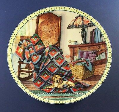 WARM RETREAT Quilt Plate COZY COUNTRY CORNERS  Dog Puppy Log Cabin #2 Antiques
