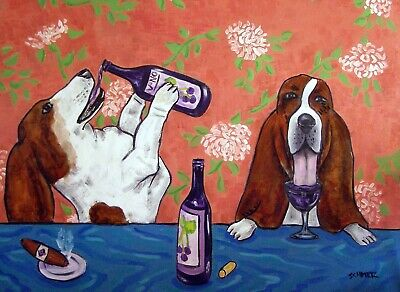 Basset hound  at the wine bar picture  DOG ART NOTE CARDS