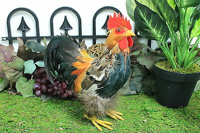 Furry Animal Feather Brown Rooster Chicken Taxidermy Decorative Figurine Decor S