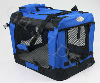 Fabric Soft Pet Crate Kennel Cage Carrier House Dog Cat Blue New