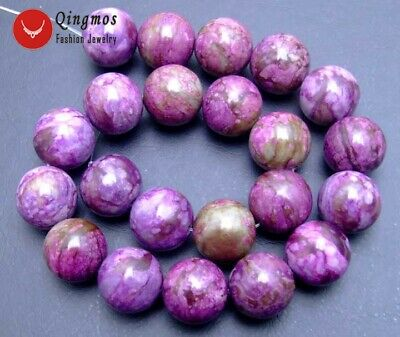 """18mm Round Natural Purple Stone Beads For Jewelry Making Strand 15""""-los24"""