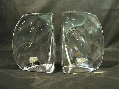 BEAUTIFUL PAIR VINTAGE DAUM FRANCE MID-CENTURY CRYSTAL ART GLASS BOOKENDS
