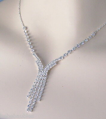 Bridal Wedding Necklace Set Bridesmaid Gift Jewelry Earrings CRYSTAL Silver Sp