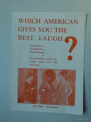 1926 My Country Theatre Program Chicago - Immigration