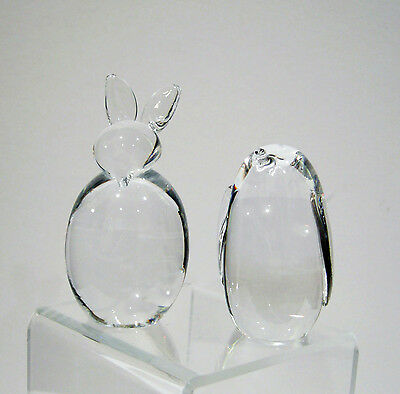 Two Vintage Crystal Paperweights - Rabbit and Penguin - 1970's -So Cuddly!