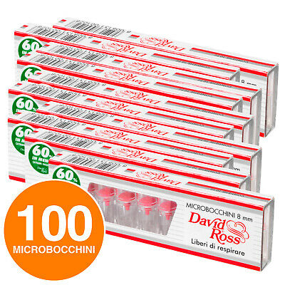100 Microbocchini David Ross 8mm sigarette regular 10 blister x10 micro bocchini