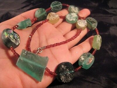 925 Silver Roman Glass Necklace Rainbow Patina Garnet spacers 1500 yrs old glass