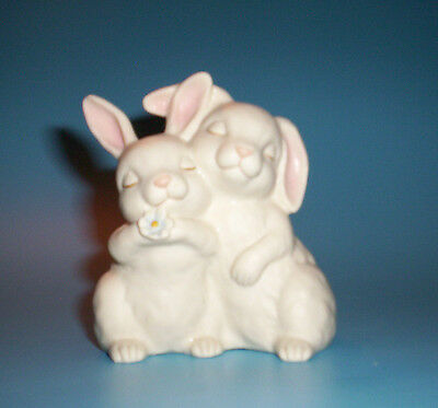"HE LOVES ME BUNNY RABBITS 4""  Figurine - HOMCO 1990"