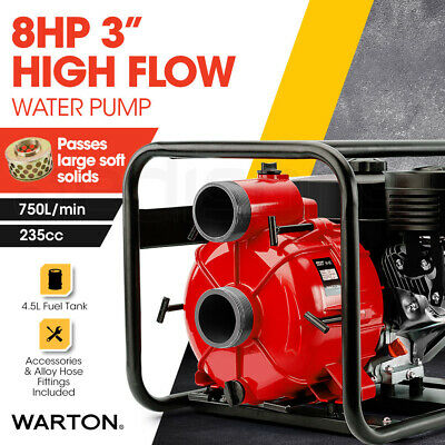 "NEW WARTON 8HP 3"" Petrol High Flow Water Trash Transfer Pump Volume Irrigation"