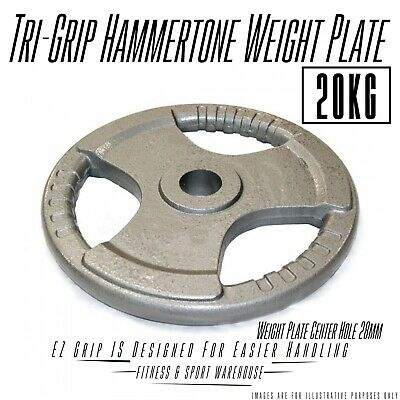 NEW Standard Hammertone Triple Grip Weight Plate 20KG Fitness Gym Weightlifting