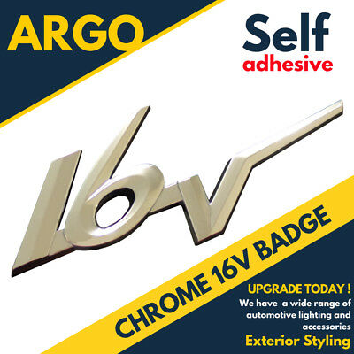 CHROME STYLE 16V CAR BADGE DECAL SELF ADHESIVE