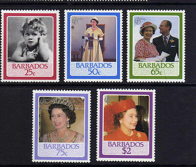 BARBADOS 1986 60th BIRTHDAY SG 810-814 MNH.