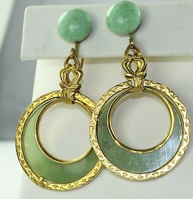 Vtg Antique 1920'S Art Deco Czech Green Glass Celluloid Dangling Hoop Earrings