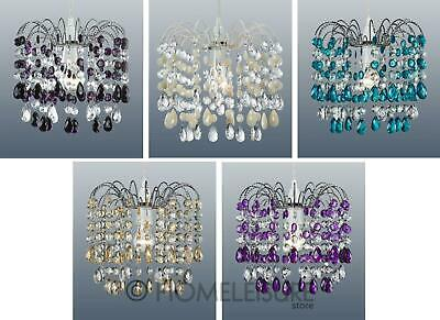 Cascade 32 Acrylic Crystal Droplet Ceiling Light Shade Pendant Purple Blue Cream
