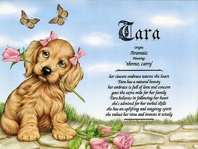 """Girl Puppy"" Personalized Name Meaning Prints (Girl Teenager Child Dogs)"
