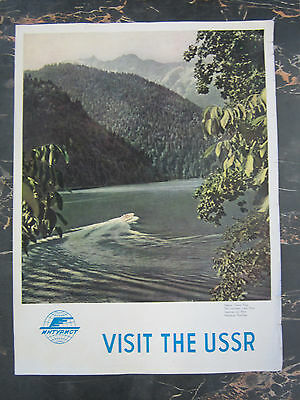 "*RARE Vtg "" VISIT THE USSR "" - Soviet Union Travel Poster - Lake Mountains Boat"