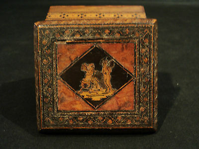 19th C. ENGLISH TUNBRIDGE or ITALIAN SORRENTO WARE BOX, CHERUB & INLAID DECOR.