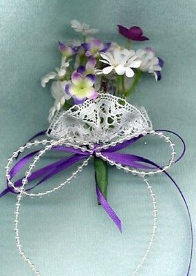 Linhill Barbie Doll Bride Bouquet White Daisies Purple Flowers Lace Pearls Ooak