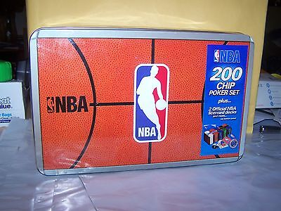 Nba 200 Chip Poker Set With Collectors Tin - W/cardsfelt - NEW IN  TIN!!!
