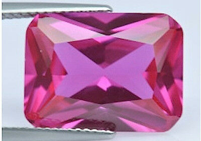 AAA Rated Octagon Faceted Bright Pink Lab Created Sapphire (5x3mm to 18x13mm)