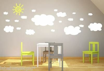 XL 20 x CLOUDS Wall Stickers Nursery Baby Room *REMOVABLE* *Extra Large Size*