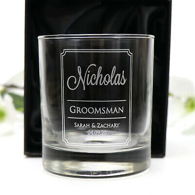 Personalised Engraved 290ml Scotch Tumbler Glass Wedding Bomboniere Bourbon