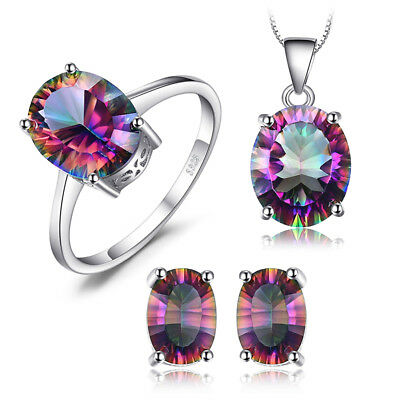 925 Silver 10ct Rainbow Topaz Set Ring Earrings Pendant Size 6 7 8 9 Oval Cut