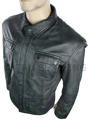Mens Fitted Vintage Shirt Style Retro Leather Jacket Grey Black Casual