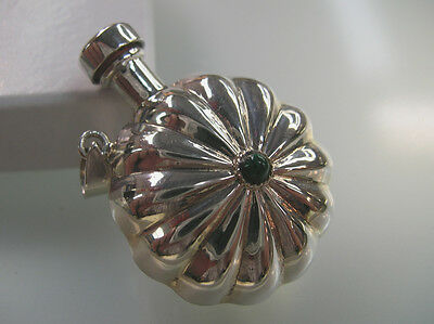 Sterling Silver perfume bottle round Shell shape vintage design w/ Malachite