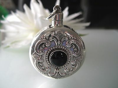 Sterling Silver perfume bottle round engraving vintage design w/ Onyx
