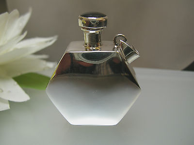 Sterling Silver Hexagon shape perfume bottle vintage style w/ bail & Onyx