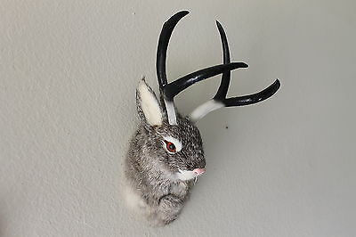 Gray Jackalope Head Mount Rabbit with Antlers Furry Animal Figurine Cabin Decor