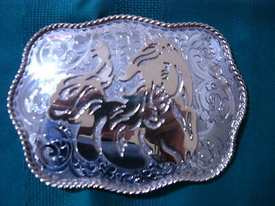 4 x 5 Trophy Belt Buckle with Enlayed Stallon in Gold Finish