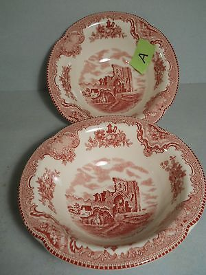 Johnson Bros Old Britain Castles 2 Berry Bowls Lot A of Old Pattern Red & White