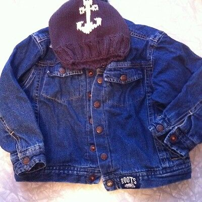 Infant Roots Jean Jacket Size 2T And Knitted Gap Anchor Hat