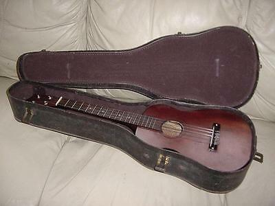 Vintage Conrad Japan Baritone Uke Mahogany With Inlaid Deco Around Sound Hole