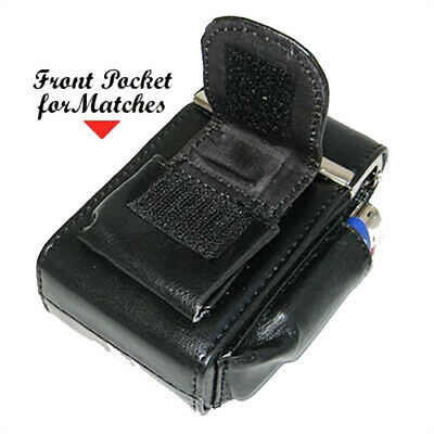 Black Cigarette Hard Case Leather Regular 100s Smoke Carrying Holder Men Women