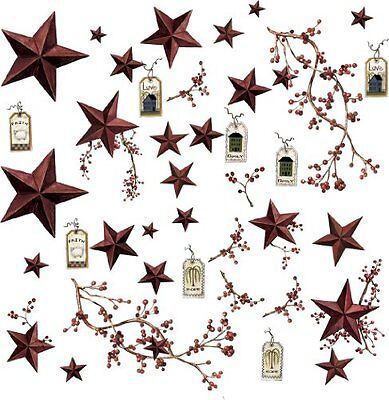 Wall Sticker Decal RMK1276SCS Country Stars and Berries Peel & Stick Decals Roo